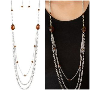 DARE TO DAZZLE BROWN NECKLACE/EARRING SET